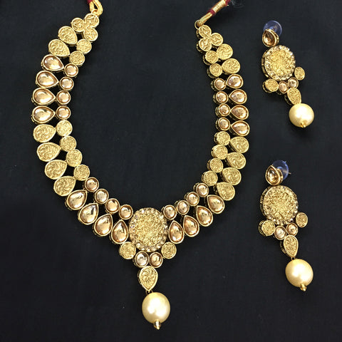 Exclusive Kundan Gold Jewelry Set - HVIJS0059