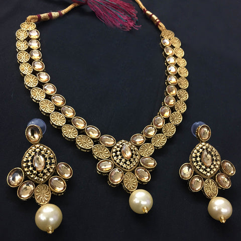 Exclusive Kundan Gold Jewelry Set - HVIJS0065