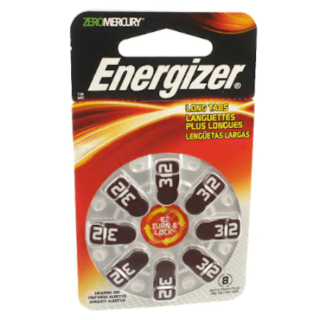 AZ312DP-8 Energizer Hearing Aid Battery- 8 per card
