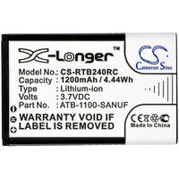 RTI 41-500012-13,  ATB-1100-SANUF Replacement Battery for Remote Control
