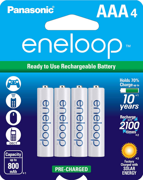 Panasonic AAA eneloop HR-4UTG, GES-HR4UTG-4BP 1.2 v NiMH Pre-Charged Rechargeable Batteries