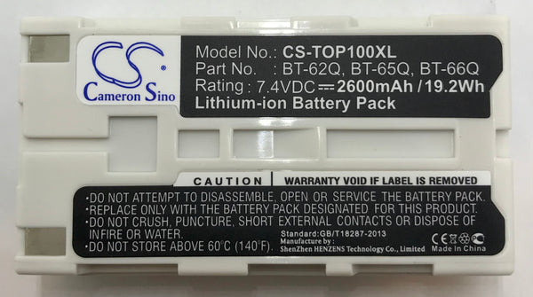 In Stock - $25.95e. BBM Battery supplies the CS-TOP100XL battery for Survey Instruments. Built specifically for the Topcon Field Controller FC2000 and FC100 as well as the GPT-9000. This Battery also fits Sokkia Data Collectors. It replaces the Topcon BT-30, BT-62Q, BT-65Q, BT-66Q Battery.