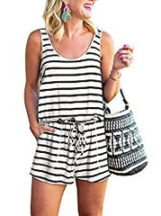 Amazon REORIA women's sleeveless black and white striped romper jumpsuit