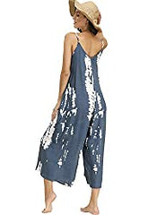 Amazon BUENOS NINOS women's indigo tie dye jumpsuit with adjustable spaghetti straps