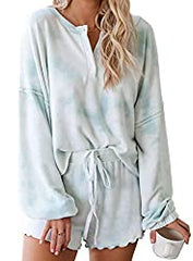 Amazon Asvivid women's tie dye ruffle short and long sleeve lounge set
