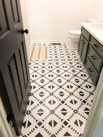 Master bathroom remodel with black and white tribal stencil