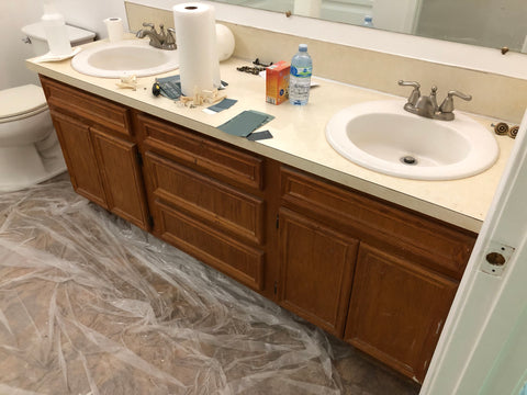 Bathroom vanity remodel using paint and new hardware