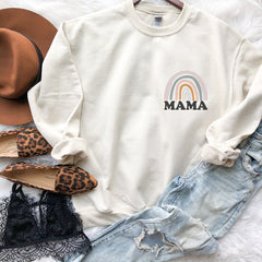 Rainbow mama crew neck cream sweatshirt