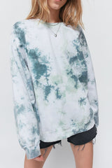 Urban Outfitters recycled tie-dye crew neck sweatshirt in olive green