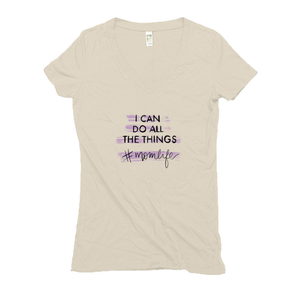 I Can Do All The Things Hemp V-Neck Cream Women's T-Shirt