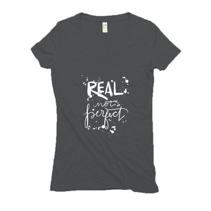 Real Not Perfect Hemp V-Neck Gray Women's T-Shirt