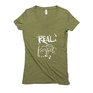 Real Not Perfect Hemp V-Neck Army Green Women's T-Shirt