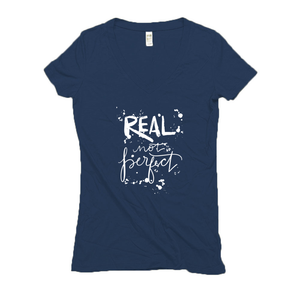 Real Not Perfect Hemp V-Neck Navy Blue T-Shirt