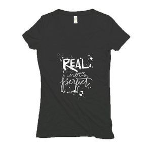 Real Not Perfect Hemp V-Neck Black Women's T-Shirt
