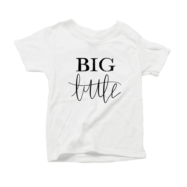 Big Little Organic Cotton Toddler Short Sleeve White Crew Tee
