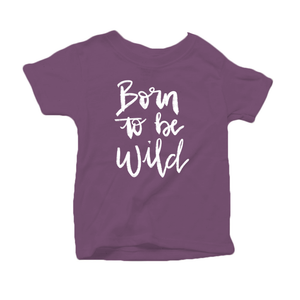 Born to be Wild Organic Cotton Toddler Short Sleeve Purple Crew Tee