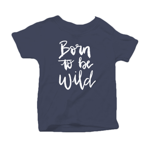 Born to be Wild Organic Cotton Toddler Short Sleeve Navy Crew Tee