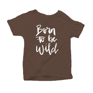 Born to be Wild Organic Cotton Toddler Short Sleeve Brown Crew Tee