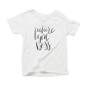 Future Girl Boss Organic Cotton Toddler Short Sleeve White Crew Tee