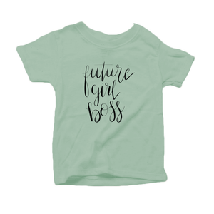 Future Girl Boss Organic Cotton Toddler Short Sleeve Green Crew Tee