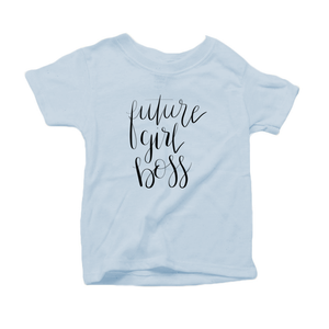 Future Girl Boss Organic Cotton Toddler Short Sleeve Baby Blue Crew Tee