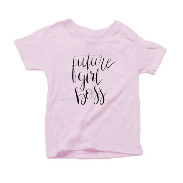 Future Girl Boss Organic Cotton Toddler Short Sleeve Pink Crew Tee
