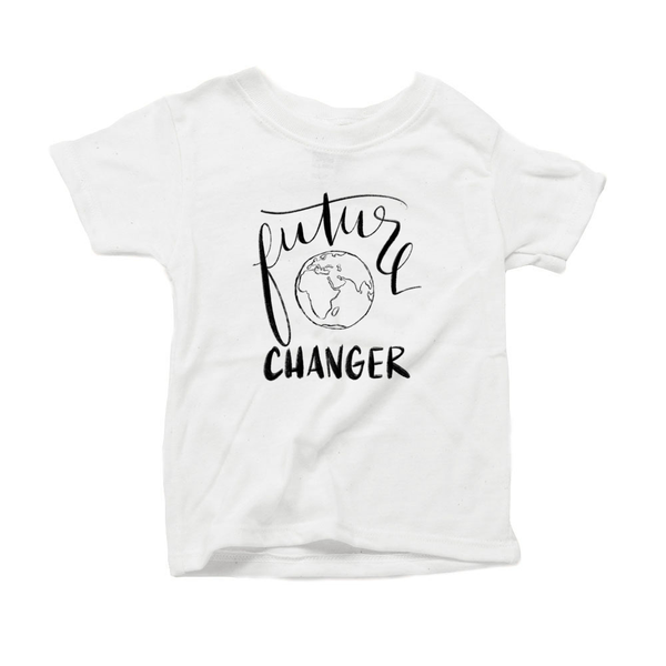 Future World Changer Organic Cotton Toddler Short Sleeve White Crew Tee