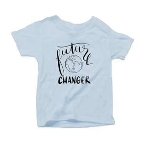 Future World Changer Organic Cotton Toddler Short Sleeve Baby Blue Crew Tee
