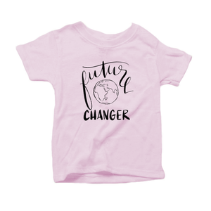 Future World Changer Organic Cotton Toddler Short Sleeve Pink Crew Tee