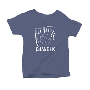 Future World Changer Organic Cotton Toddler Short Sleeve Blue  Crew Tee