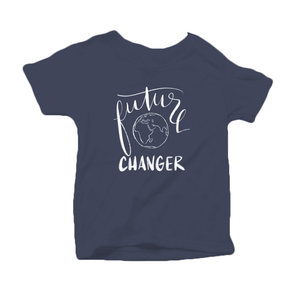 Future World Changer Organic Cotton Toddler Short Sleeve Navy Crew Tee