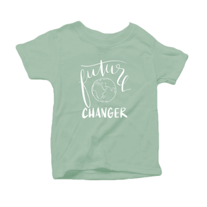Future World Changer Organic Cotton Toddler Short Sleeve Green Crew Tee
