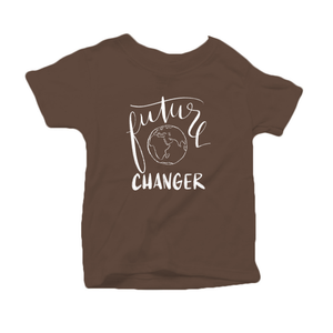 Future World Changer Organic Cotton Toddler Short Sleeve Brown Crew Tee
