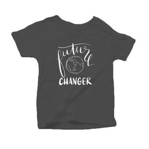 Future World Changer Organic Cotton Toddler Short Sleeve Charcoal Crew Tee