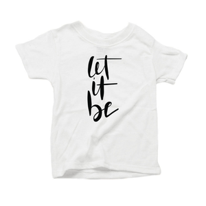 Let It Be Organic Cotton Toddler Short Sleeve White Crew Tee