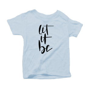 Let It Be Organic Cotton Toddler Short Sleeve Baby Blue Crew Tee