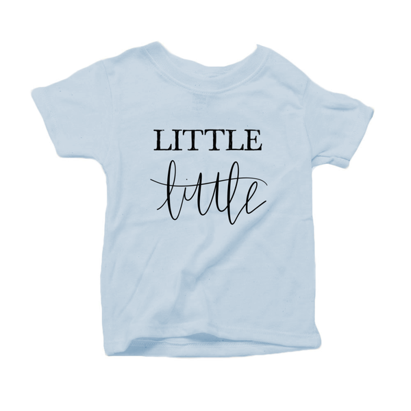 Little Little Organic Cotton Toddler Short Sleeve Baby Blue Crew Tee