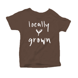 Locally Grown Organic Cotton Toddler Short Sleeve Brown Crew Tee