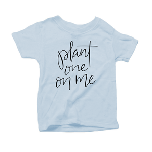 Plant One on Me Organic Cotton Toddler Short Sleeve Baby Blue Crew Tee