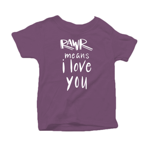 Rawr Means I Love You Organic Cotton Toddler Short Sleeve Purple Crew Tee