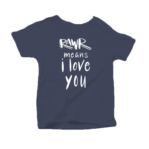 Rawr Means I Love You Organic Cotton Toddler Short Sleeve Navy Crew Tee
