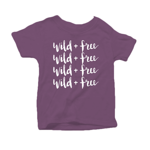 Wild and Free Organic Cotton Toddler Short Sleeve Purple Crew Tee