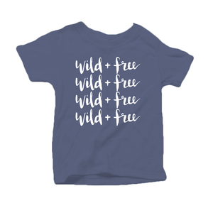 Wild and Free Organic Cotton Toddler Short Sleeve Blue Crew Tee