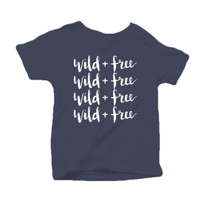 Wild and Free Organic Cotton Toddler Short Sleeve Navy Crew Tee