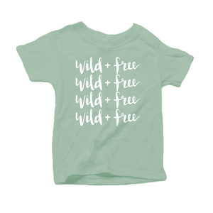 Wild and Free Organic Cotton Toddler Short Sleeve Green Crew Tee
