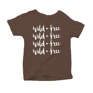 Wild and Free Organic Cotton Toddler Short Sleeve Brown  Crew Tee