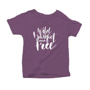 Wild, Barefoot and Free Organic Cotton Toddler Short Sleeve Purple Crew Tee