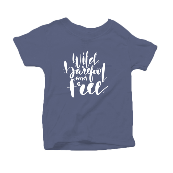 Wild, Barefoot and Free Organic Cotton Toddler Short Sleeve Blue Crew Tee