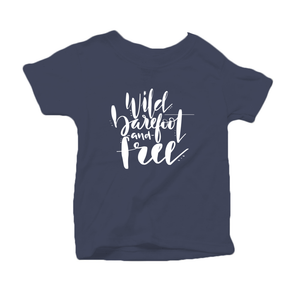 Wild, Barefoot and Free Organic Cotton Toddler Short Sleeve Navy Crew Tee