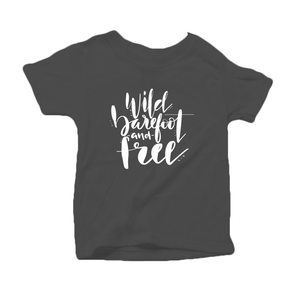 Wild, Barefoot and Free Organic Cotton Toddler Short Sleeve Charcoal Crew Tee